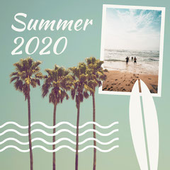 Green Palm Trees Summer 2020 Collage Instagram Square Beach