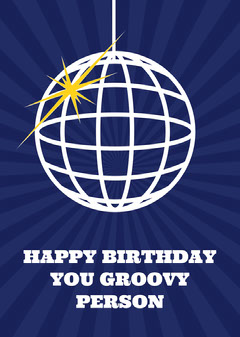 White and Violet Happy Birthday Card Groovy