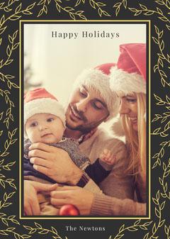 happy holidays floral frame photo card Frame