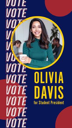 Blue Red Vote Student President Instagram Story Voting