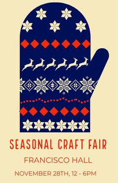 Blue and Yellow Illustrated Christmas Mitten Craft Fair Poster Seasonal