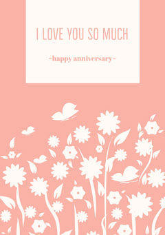 Orange Floral Happy Marriage Anniversary Card Couple