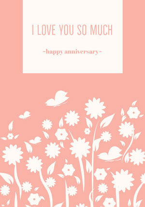 Orange Floral Happy Marriage Anniversary Card 기념일 카드