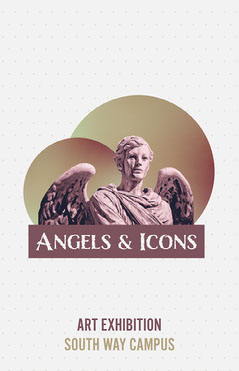 Gold & Purple Angel Statue Collage Poster Art Exhibition