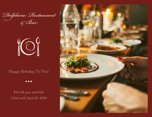 Red Restaurant Birthday Coupon with Photo Coupon