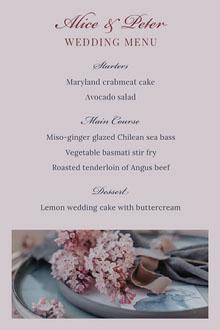 wedding floral menu Menu de casamento