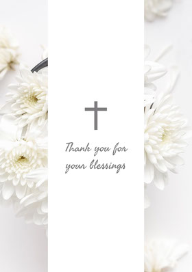 White and Grey Thank You Card Tarjeta de agradecimiento