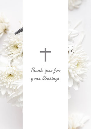 White and Grey Thank You Card Baptism Thank You Card