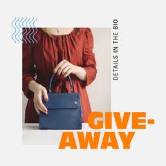 Orange and Blue, Simple, Giveaway Handbag Event Ad, Instagram Square Giveaway