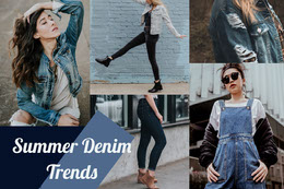Blue Denim and Jeans Fashion Mood Board with Fashion Models Collage di foto