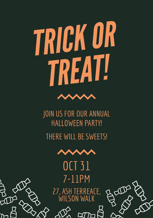 Orange and Black Candy Halloween Party Invitation Card Halloween Party