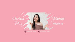 Pink and White Minimal Clariss Makeup YouTube Channel Art Makeup