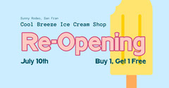 Blue Pink Yellow Ice Cream Shop Opening Facebook  Ice Cream Social Flyer