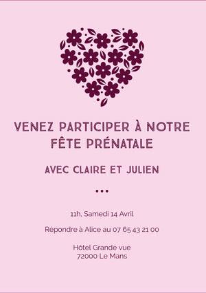 heart flower baby shower invitations   Invitation fête de naissance