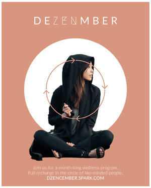 Brown December Wellness Program Flyer with Zen Pun Yoga Posters