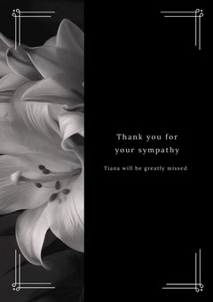 Black and White Thank You Card Funeral