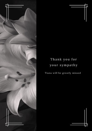Black and White Thank You Card Surunvalittelukortti
