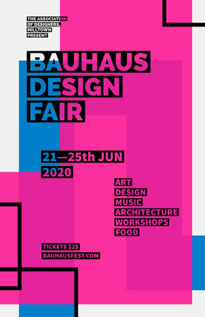 Blue and Pink Geometric Design Fair Flyer Arts Poster