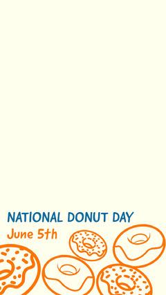 White and Orange Donut Day Social Post Donut