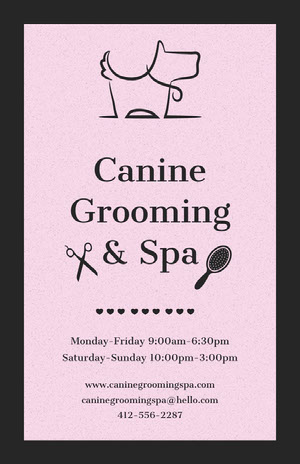 Canine Grooming & Spa Pink Flyers