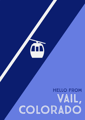 Blue Illustrated Colorado Postcard with Gondola Postal