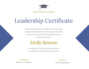 Blue and Gold Leadership Certificate Certificate Certificat