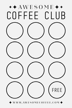 Black and White Minimalist Coffee Loyalty Card Cafe