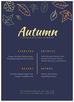 autumn leaves menu poster Thanksgiving Menu