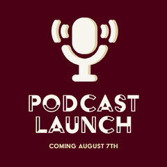 Brown Podcast Launch Instagram Square with Microphone Illustration Launch