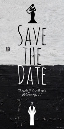 Black and White Illustrated Save the Date Wedding Invitation Convite