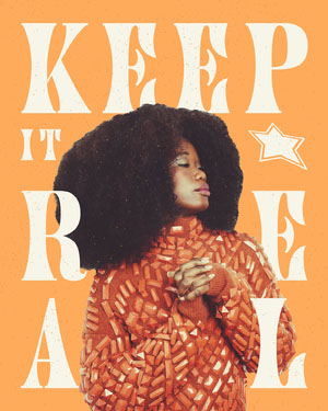 Orange Groovy Retro Style Woman with Afro Photo and Typography Slang Phrase Instagram Portrait 파란색 말풍선 유튜브 썸네일 용 얼굴 사진 배경 지우기