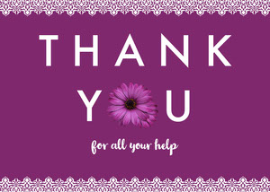 Violet and White Thank You Card Baby Shower Thank You Card