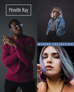 Black and Blue New Winter Fashion Collection Instagram Portrait Ad with Collage of Fashion Models Fashion Collage