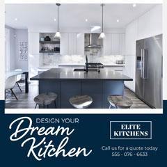 Navy & White Elite Kitchens Instagram Square Designer