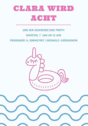 pool party unicorn birthday cards  Geburtstagskarte mit Einhörnern