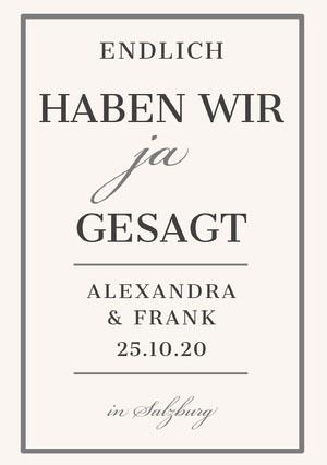 cream and grey tied the knot wedding announcements  Hochzeitsanzeigen