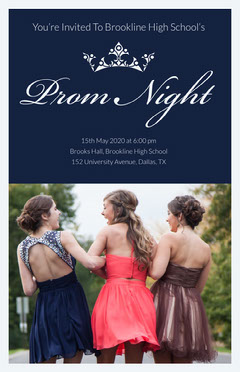 Blue High School Prom Poster with Photo of  Female Students Dress