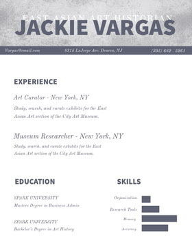 Gray Art Historian Resume Creative Resume