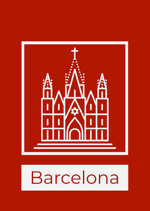 Red Barcelona Spain Postcard with Sagrada Familia Postal