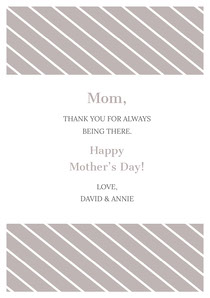Silver Striped Mothers Day Card Mother's Day Card