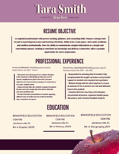 Purple Teacher Resume with Apple Teacher