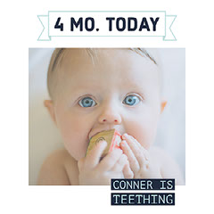 Blue and White Light Toned Baby Teething Announcement Instagram Post Day Care
