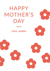 Red Floral Mothers Day Card Mother's Day Card