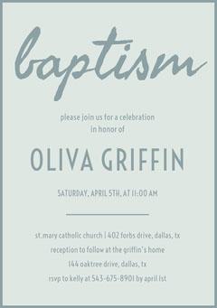 Gray Daughter Baptism Invitation Card Baptism