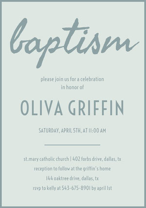 Gray Daughter Baptism Invitation Card Invitation de baptême