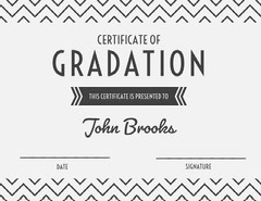Gray High School Graduation Certificate with Zig Zag Pattern Back to School