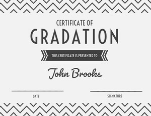 Gray High School Graduation Certificate with Zig Zag Pattern Certificat