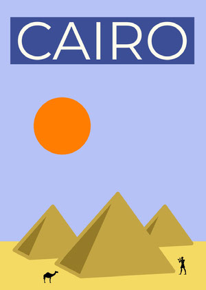 Yellow and Blue Illustrated Cairo Egypt Travel Postcard with Pyramids Rejsepostkort