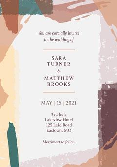 Earth Tone Modern Abstract Wedding Invitation Paint