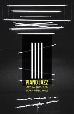 Black and White Neon Jazz Music Concert Poster Jazz